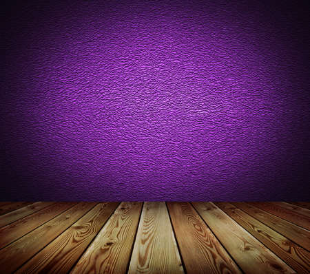 Violet wall and wood floor background  photo
