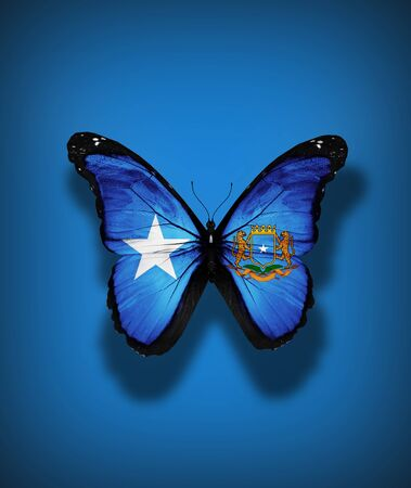 Somalia flag butterfly with coat of arms, isolated on flag background