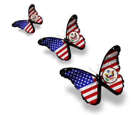 american butterflies: Three american flag butterflies with coat of arms, isolated on white