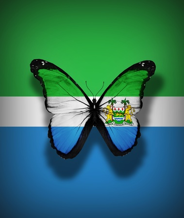 Sierra Leone flag butterfly, isolated on flag background photo