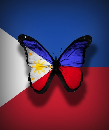 Philippines flag butterfly, isolated on flag background