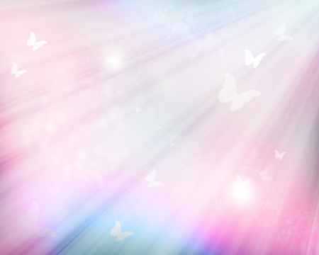 pink butterfly: Sunshine with butterflies as abstract lights background
