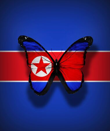 North Korea flag butterfly, isolated on flag background photo