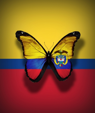 Colombian flag butterfly with coat of arms, isolated on flag background