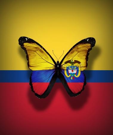 bandera de colombia: Mariposa bandera de Colombia con el escudo de armas, aislado en el fondo de la bandera