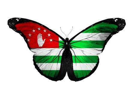 abkhazia: Abkhazia flag butterfly flying, isolated on white background