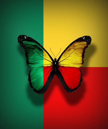 Benin flag butterfly, isolated on flag background Stock Photo