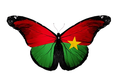 burkina faso: Burkina Faso flag butterfly, isolated on white background