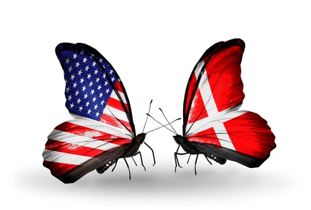 american butterflies: Two butterflies with flags on wings as symbol of relations USA and Denmark