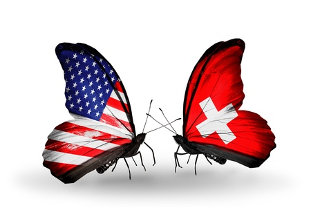 american butterflies: Two butterflies with flags on wings as symbol of relations USA and Switzerland