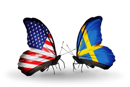 Two butterflies with flags on wings as symbol of relations USA and Sweden Stock Photo