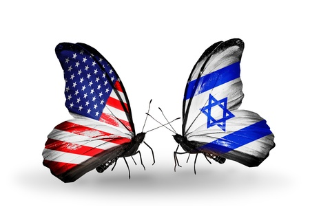 Two butterflies with flags on wings as symbol of relations USA and Israel photo