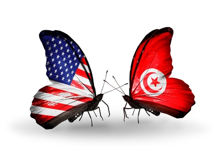 Two butterflies with flags on wings as symbol of relations USA and Tunisia photo