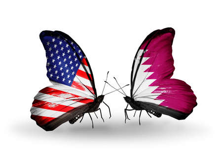 american butterflies: Two butterflies with flags on wings as symbol of relations USA and Qatar