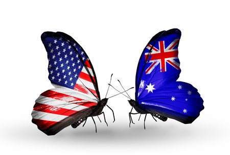 Two butterflies with flags on wings as symbol of relations USA and Australia