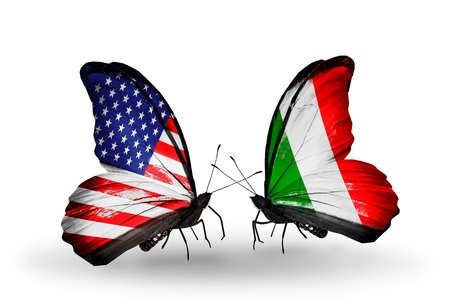 Two butterflies with flags on wings as symbol of relations USA and Italy
