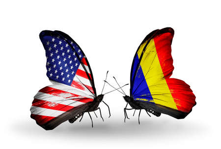chad: Two butterflies with flags on wings as symbol of relations USA and Chad, Romania