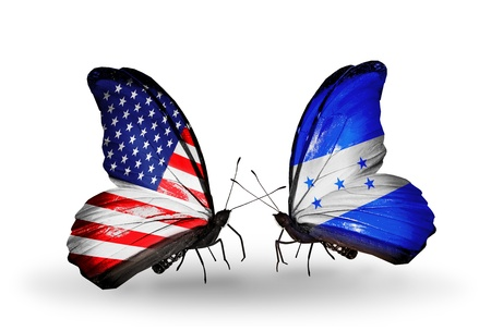 honduras: Two butterflies with flags on wings as symbol of relations USA and Honduras Stock Photo