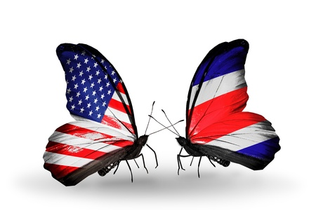 american butterflies: Two butterflies with flags on wings as symbol of relations USA and Costa Rica