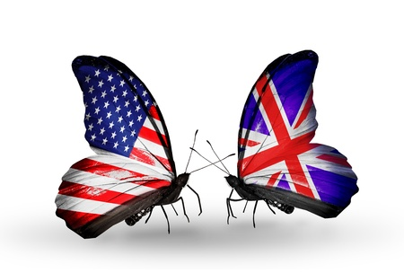 american butterflies: Two butterflies with flags on wings as symbol of relations USA and UK Stock Photo