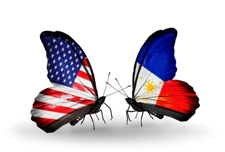 american butterflies: Two butterflies with flags on wings as symbol of relations USA and Philippines