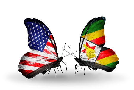 Two butterflies with flags on wings as symbol of relations USA and Zimbabwe photo