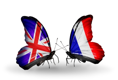 Two butterflies with flags on wings as symbol of relations UK and France photo
