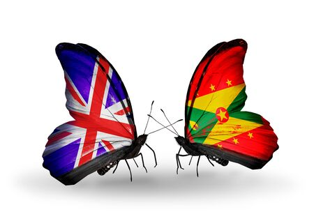 Two butterflies with flags on wings as symbol of relations UK and Grenada photo