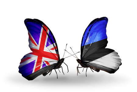 Two butterflies with flags on wings as symbol of relations UK and Estonia photo
