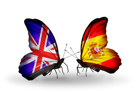 Two butterflies with flags on wings as symbol of relations UK and Spain