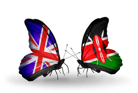 Two butterflies with flags on wings as symbol of relations UK and Kenia photo