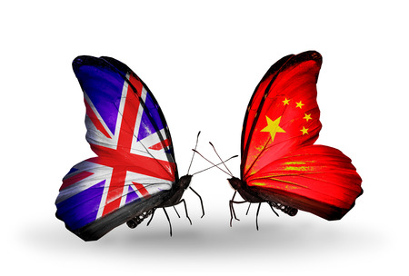Two butterflies with flags on wings as symbol of relations UK and China photo