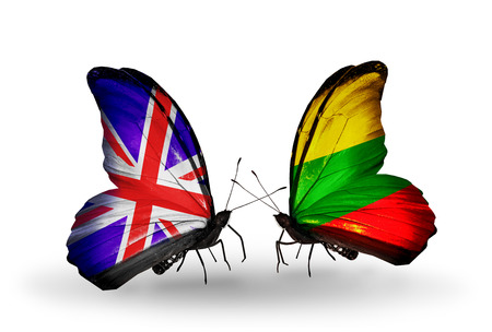 Two butterflies with flags on wings as symbol of relations UK and Lithuania photo