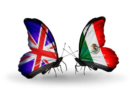 Two butterflies with flags on wings as symbol of relations UK and Mexico photo