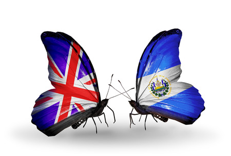 Two butterflies with flags on wings as symbol of relations UK and Salvador photo