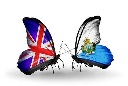 Two butterflies with flags on wings as symbol of relations UK and San Marino photo