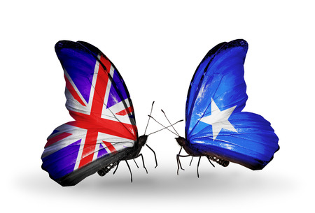 Two butterflies with flags on wings as symbol of relations UK and Somalia photo