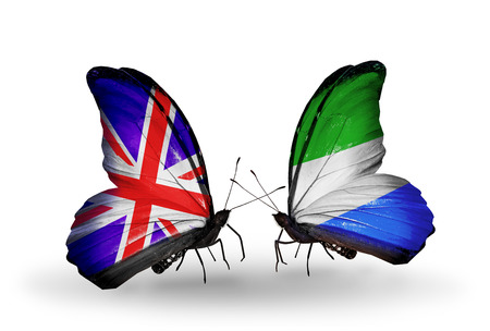 Two butterflies with flags on wings as symbol of relations UK and Sierra Leone photo