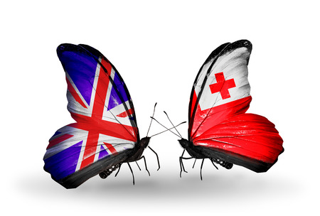Two butterflies with flags on wings as symbol of relations UK and Tonga