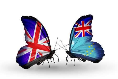 Two butterflies with flags on wings as symbol of relations UK and Tuvalu photo