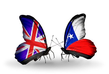 Two butterflies with flags on wings as symbol of relations UK and Chile