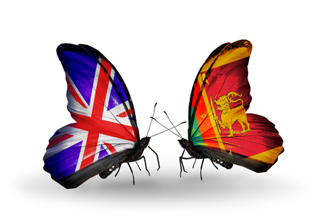 Two butterflies with flags on wings as symbol of relations UK and Sri Lanka photo