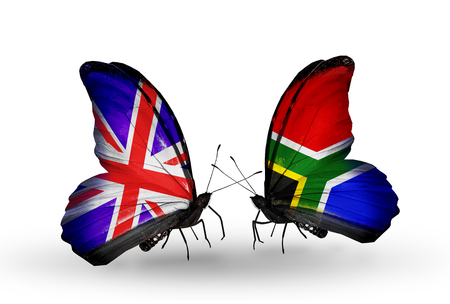 Two butterflies with flags on wings as symbol of relations UK and South Africa