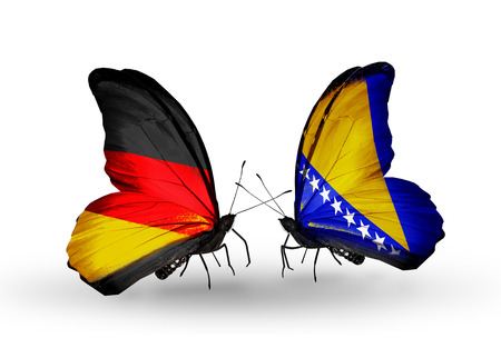 Two butterflies with flags on wings as symbol of relations Germany and Bosnia and Herzegovina photo