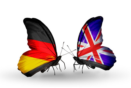 Two butterflies with flags on wings as symbol of relations Germany and UK