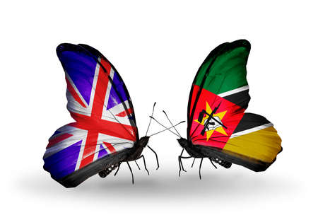 Two butterflies with flags on wings as symbol of relations UK and Mozambique photo