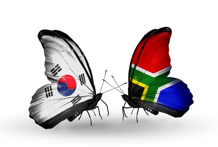 Two butterflies with flags on wings as symbol of relations South Korea and South Africa photo