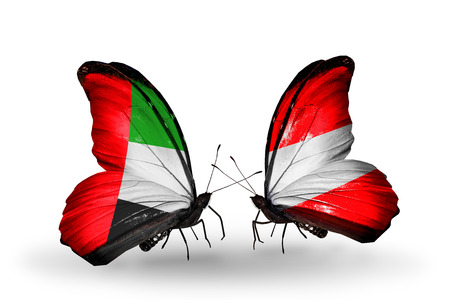 �rabe: Dos mariposas con banderas en las alas como s�mbolo de las relaciones de Emiratos �rabes Unidos y Austria