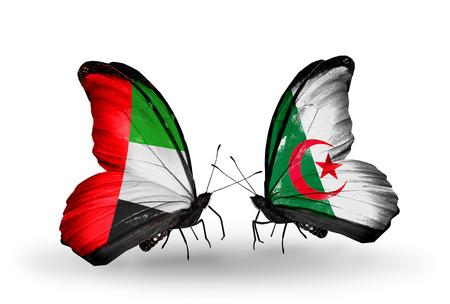 arabe: Dos mariposas con banderas en las alas como símbolo de las relaciones de Emiratos Árabes Unidos y Argelia Foto de archivo