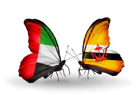 �rabe: Dos mariposas con banderas en las alas como s�mbolo de las relaciones UAE y Brunei